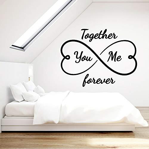 Liebe Vinyl Wall Decal für Master Schlafzimmer Sie und ich zusammen für Immer Infinity Hearts Art Aufkleber Home Interior Decor75 * 57CM (Sie Lieben, Um Den Infinity-wandtattoos)