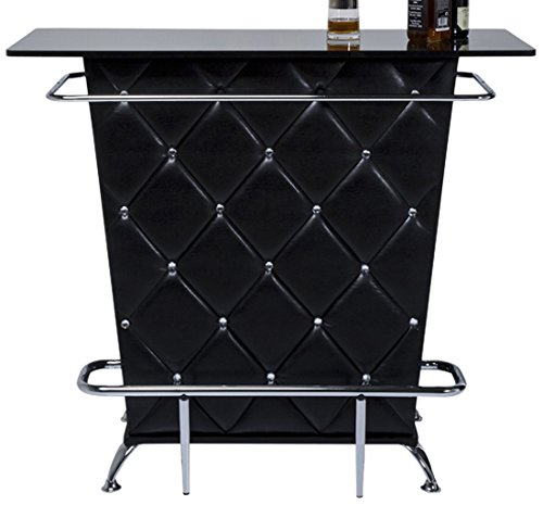Kare Design Bar Lady Rock Black, extravaganter Bartisch, Bartresen mit aufwendiger Rautensteppung, Bartheke mit viel Stauraum, Flaschenhalterungen und Fuß/Hand Reling, Schwarz-Silber (H/B/T) 104x120x52cm