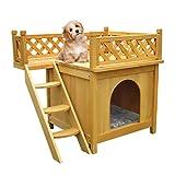 Youke Cuccia a Forma di casetta per Cane/Gatto, con Una terrazza sul Tetto e Una Cuccia Accogliente