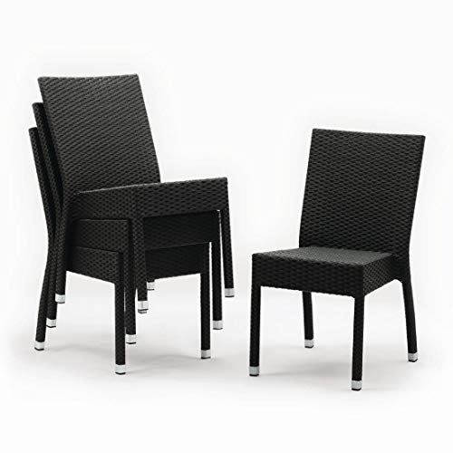 4 x chaises en osier Bolero côté gris anthracite pour intérieur et extérieur 860 x 500 x 600 mm