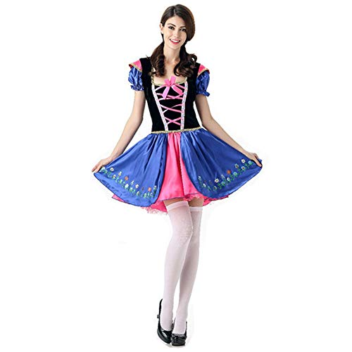 Damen Halloween COS Kostüm Ice Romantic Anna Princess Dress Bühnenkostüm,Blue,XL