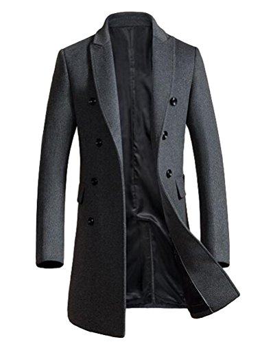 Vogstyle Herren Warme Wolle Coat Wintermantel Jacke Herrenmantel,  S,   Grau