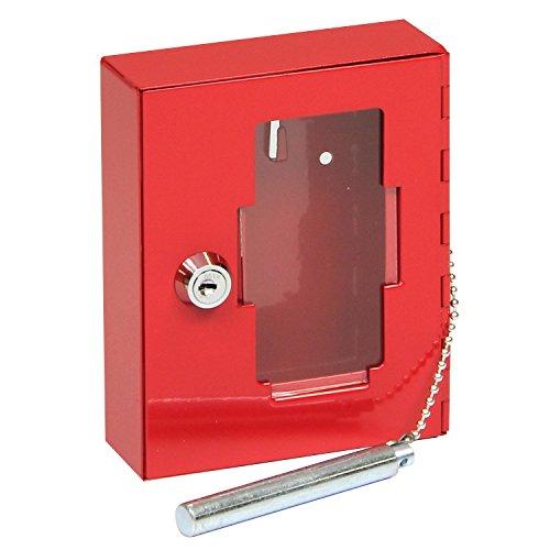 FELGNER Notschlüsselkasten TS 1021 - rot - Notschlüsselbox mit Glasscheibe & Klöppel - 120x130x40mm - inkl. 2 Schlüssel - zur Wandmontage