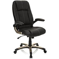 hjh OFFICE 621600 silla de oficina PALATIN piel sintética negro, muy cómodo, buen acholchado, con apoyabrazos plegables, respaldo inclinable y bloqueable, estable, fácil de limpiar, buen acabado, sillón oficina