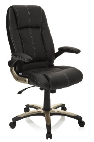 hjh OFFICE 621600 Bürostuhl Chefsessel PALATIN Kunstleder schwarz, bequeme Polsterung und hohe Rückenlehne, feste Armlehnen, Bürostuhl, Racer 120Kg, XXL Chefsessel, Gaming Stuhl, Gaming PC