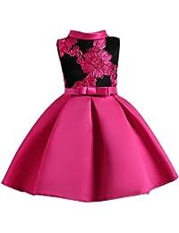 YuanDian Bambina Filati Netti Ricamo Fiore Vestiti Da Cerimonia Eleganti  Senza Maniche Matrimonio Partito Comunione Abiti 1e1fcceb05a