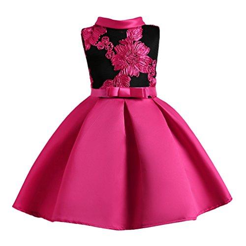 YuanDian Bambina Filati Netti Ricamo Fiore Vestiti da Cerimonia Eleganti Senza Maniche Matrimonio Partito Comunione Abiti Principesse Bimba Abito 3-10 Anni Rose 150#