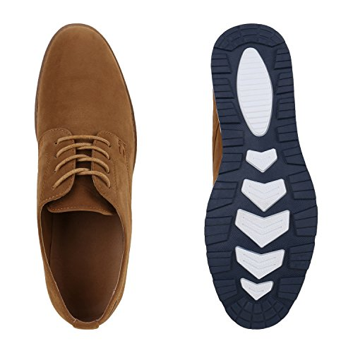 Herren Halbschuhe | Business Schuhe Veloursleder-Optik |Klassische Schnürer | Denim Lochung Geflochten Hellbraun