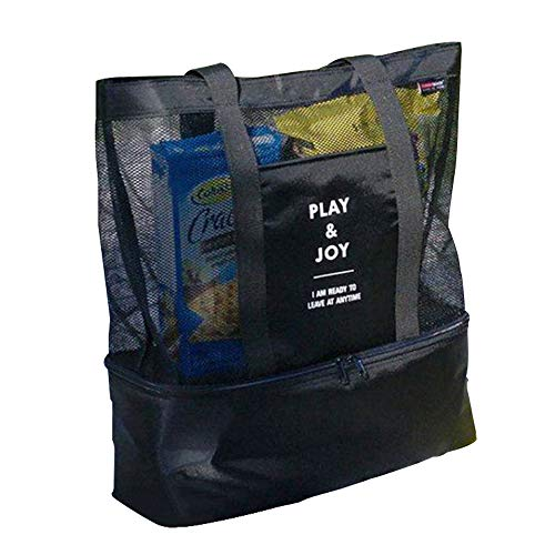Amaoma Badetasche Familie Badetaschen Strandtaschen mit Wasserdichtem Kühlfach Hoch Kapazität Reißverschluss Picknicktasche für Reise oder Ausflug MTI Kindern Beachbag Urlaubstasche Schwarz Hohe Reißverschluss