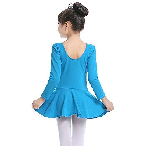 Tanz Skating Kostüm - Hoverwin - Baby Mädchen Gymnastikanzug für Tanz Klassisch Gymnastik Tutu Kleid Ballett Kleid Langarm Body Kleid Tanz Kostüm Eiskunstlauf Kleid Performance - passend für Höhe 90 - 170 cm, blau, XXXXL