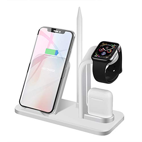 Ladestation Ständer für Apple Watch 5/4/3/2/1 (QC3.0 Adapter Enthalten) Schnelles kabelloses Induktives Ladegerät für AirPods,iWatch,iPhone 11 Pro/11/XS MAX/XR/X/8,Samsung Galaxy S10/S9/S8 und mehr