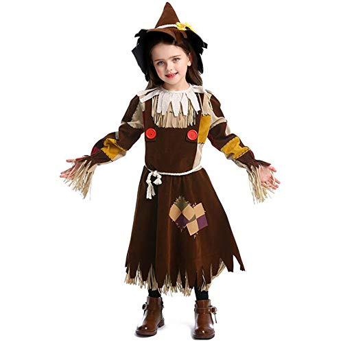 Ms.Feiya Zauberer von Unzen Kostüme Mädchen Vogelscheuche Kostüm mit Vogelscheuche Hut Kind Halloween Mädchen Vogelscheuche Kürbisbeet Kinderkostüme Outfit (Halloween Der Von Oz Dekorationen Zauberer)