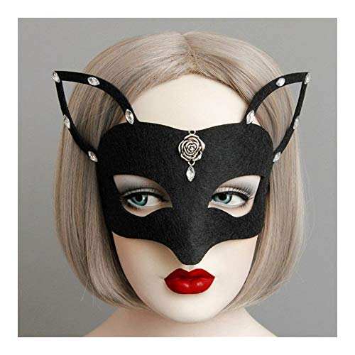 LUOSI Maske mädchen Frauen sexy Maske Catwoman Maskerade Tanzparty Augenmaske cat Fancy Dress kostüm (Color : Black)