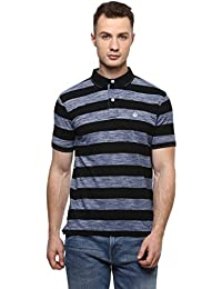 Cayman Navy blue Smart Fit Striped Polo T-shirts