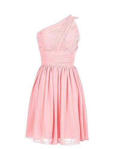 Dresstells Damen Kleider Kurz Chiffon Partykleid Ballkleider EinTräger Rosa