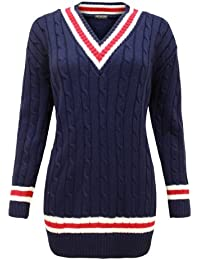 Cexi Couture - Pull Femmes Tricot style cricket Col en V 36-42