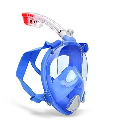 CHMASK Plongée en apnée, Masque De Plongée Lunettes De Visage Complet Imperméable Anti-buée Champ De Vision 180 ° HD Tuba Sec Complet Bandeau Réglable Support De Caméra Enfant (Couleur : Bleu)