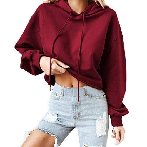 iHENGH Damen Sweatshirt Top Women Herbst Hoodie Casual Tops Round Neck Sweatshirts Pullover Lange ÄRmel Hemden Lose Bluse Shirt