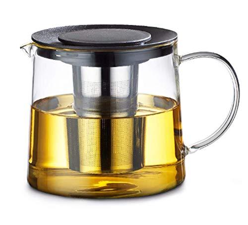 Tebery teiera di vetro con filtro in metallico - coperchio in plastica, manico in vetro -1,5 l