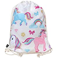 HECKBO Unicorn Gym Bag - Color: Beige Impreso por Las Dos Caras con Unicornios de Colores - 40x32cm - Adecuado para Deportes, Escuela, Ocio, guardería, Cuna, Viajes - para niños, Mujeres, niñas