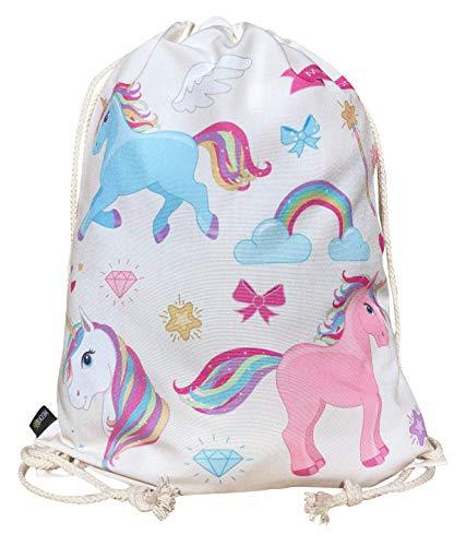 HECKBO Sacca per Bambine con Unicorni (Beige) - Motivo con Unicorni Colorati - 40x32cm - Sport, Scuola, Tempo Libero, Asilo, Scuola Materna, Gita - Bambine, Bimbe, Ragazze