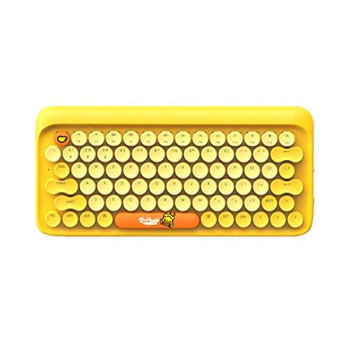 RxDZY Mechanische Tastatur, Dot Bluetooth mechanische Tastatur, Wireless Retro Keyboard Hochwertiges Computerzubehör. Spielbegleiter. (Color : Yellow)