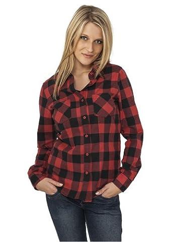 Urban Classics Ladies Chemise à carreaux en flanelle TB388, Taille:M, couleur:noir/rouge
