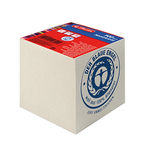 Preisvergleich Produktbild Herlitz Notizklotz Geleimt UWS-Papier, blauer Engel, 1 Stück in Folienpackung, 900 Blatt, 9 x 9 x 9 cm, grau