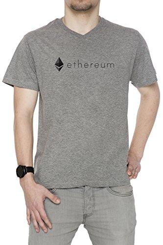 Ethereum Eth Hombre Camiseta Cuello Redondo Gris Manga Corta Tamaño XL Men's T-Shirt Grey X-Large Size XL