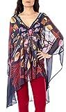 Desigual Top Donna Blu Semitrasparente Copricostume con Stampa Marina Blusa Pareo L/XL