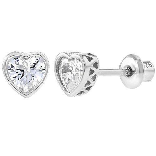 In Season Jewelry Kinder - Schraubverschluss Ohrringe Herz Kleine 925 Sterling Silber Klarer CZ Zirkonia (Silber Ohrringe Screwback)