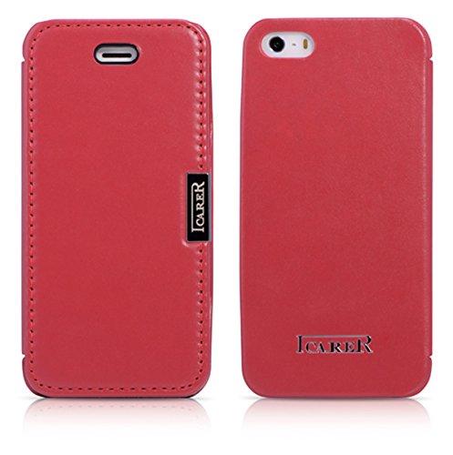 Luxus Tasche für Apple iPhone SE , iPhone 5S und iPhone 5 / Case Außenseite aus Echt-Leder / Innenseite aus Textil / Schutz-Hülle seitlich aufklappbar / ultra-slim Cover / Farbe: Hell-Rot