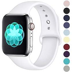 ilopee Bracelet de Sport en Silicone résistant pour Apple Watch 38 mm 40 mm 42 mm 44 mm étanche pour iWatch Série 4 3 2 1 pour Femme/Homme, Multicolore Disponible S/M M/L, C-White, 38mm / 40mm S/M