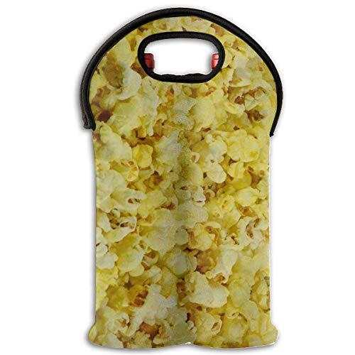 Popcorn Two Bottle Wine Carrier Tote Bag Neoprene Wine/Water Bottle Holder Keeps Bottles Protected Design5