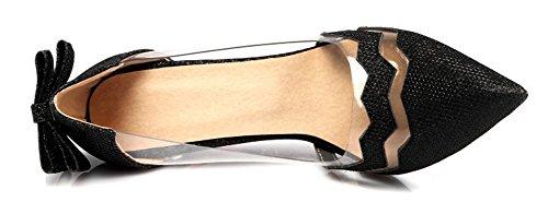 Aisun Femme Chic Paillettes Transparent Talon Aiguille Escarpins Noir