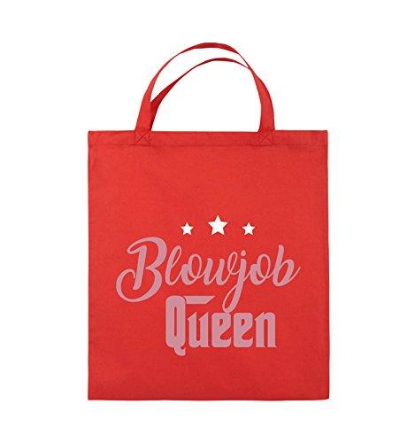 Comedy Bags - Blowjob Queen - Jutebeutel - kurze Henkel - 38x42cm - Farbe: Schwarz / Weiss-Neongrün Rot / Rosa-Weiss