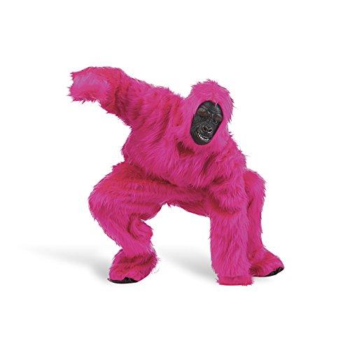 Anzug Kostüm Gorilla (Rosa Gorilla-Kostüm für Erwachsene)