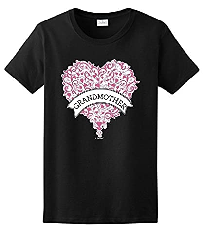 Grandma Gift Grandmother Pink Heart Banner Ladies T-Shirt X-Large Light Pink