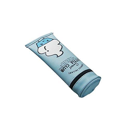 Oyfel Trousse Scolaire Forme de Boîte de Dentifrice pour Stylos Crayons Maquillage Articles de Toilette Papeterie Argent 1 Pcs