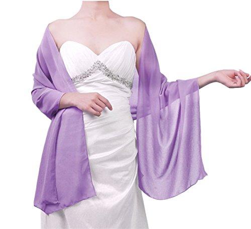 FNKSCRAFT® Atemberaubend weich Satin Hochzeit Schals Wraps zum Brautjungfern Abend Abschlussball Tücher (chiffon-lila) (Wrap Abend)