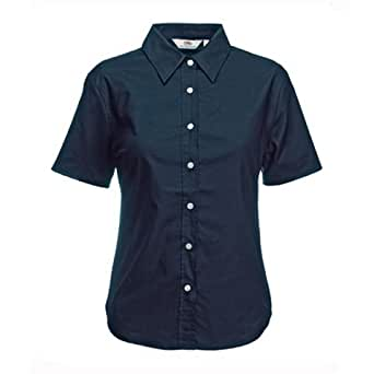 Fruit of the Loom Lady-Fit Short Sleeve Oxford Shirt - Size: XL - UK Size 16 (Euro 42) - Color: Navy