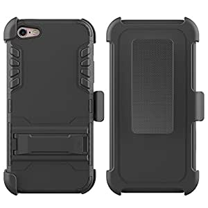 iphone 6s plus case, Feitenn Tough Metal Iron Arnor Hard Hybrid case with Kickstand stand belt clip case cover for iphone 6 tempered glass (Grey)