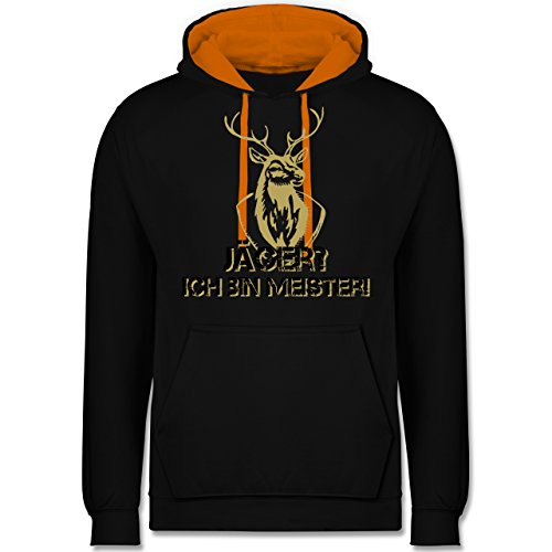 Après Ski - Jäger? Ich Bin Meister! - XL - Schwarz/Orange - JH003 - Hoodie zweifarbig und Kapuzenpullover für Herren und Damen