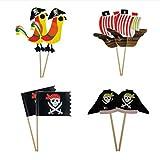 STOBOK 40 Stücke Pirate Kuchen Topper Cupcake Picks Deko Kuchendekoration für Baby Kinder Kindergeburtstag Party
