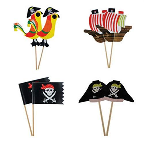 STOBOK 40 Stücke Pirate Kuchen Topper Cupcake Picks Deko Kuchendekoration für Baby Kinder Kindergeburtstag Party (Kuchen Toppers Kinder)