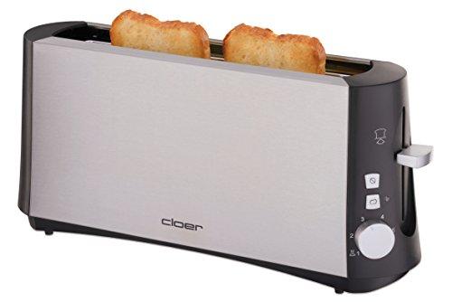 """Cloer 3810 Langschlitztoaster für 2 Toastscheiben / 880 W / StiWa """"gut"""" / """"Graubrot-Funktion"""" für verschiedene Brotsorten / Brötchenaufsatz / Nachhebevorrichtung / mattiertes wärmeisoliertes Edelstahlgehäuse"""