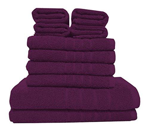 10 tlg. Frottee Handtuch Set - aubergine - 2 Duschtücher 4 Handtücher 4 Gästetücher 100% Baumwolle - Ringspinngarn - Hochflorwebung - Auberginen-handtuch-set
