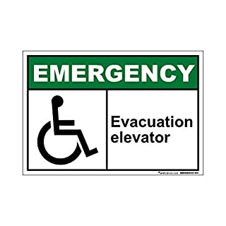 Aufkleber für Notfall-Evakuation, Aufzug, lustige Wanring-Aufkleber, selbstklebend, Vinyl, 17,8 x 25,4 cm