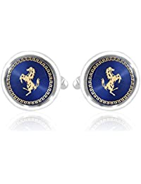 Miami Crystal and Silver Plated Round Cufflinks Set for Men