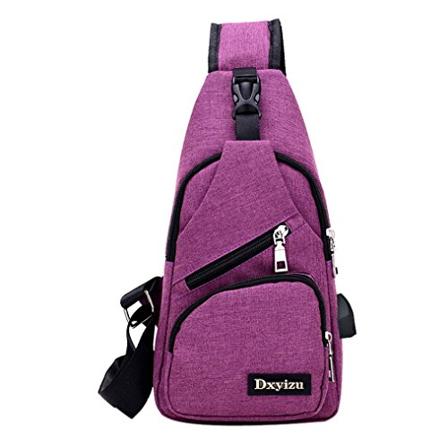 Sling borsa a tracolla, USB Outdoor Sport Casual Canvas sbilanciare zaino crossbody Sling borsa a tracolla by Kangrunmy® Viola